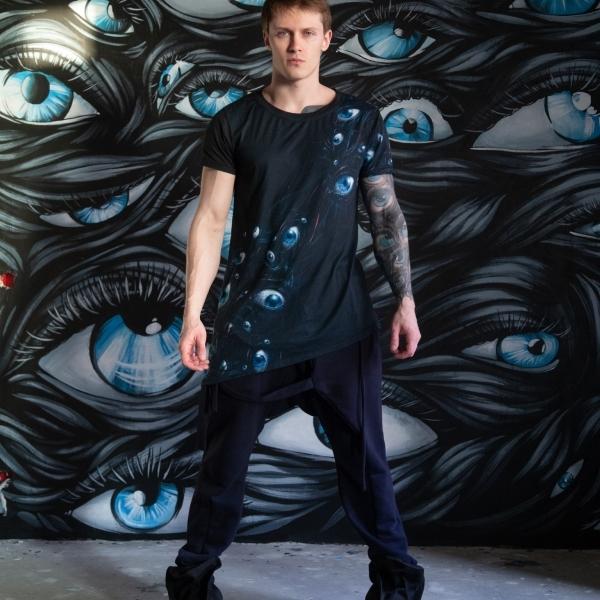 Diagonal eye's stream t-shirt